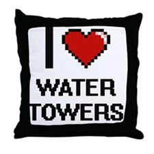 I love Water Towers digital design Throw Pillow