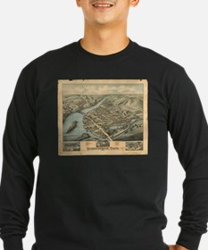Vintage Pictorial Map of Birmi Long Sleeve T-Shirt