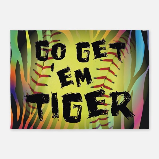 Go Get Em Tiger Softball Motivational 5'x7'Area Ru