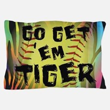 Go Get Em Tiger Softball Motivational Pillow Case