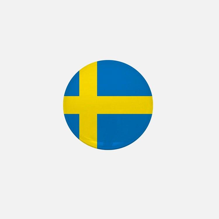 Square Swedish Flag Mini Button