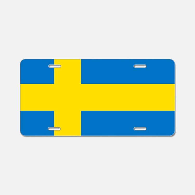 Square Swedish Flag Aluminum License Plate