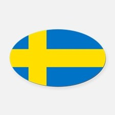 Square Swedish Flag Oval Car Magnet