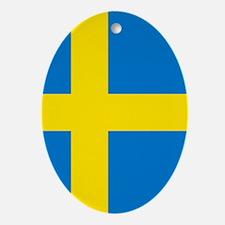 Square Swedish Flag Oval Ornament