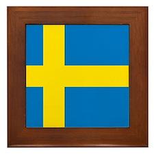 Square Swedish Flag Framed Tile