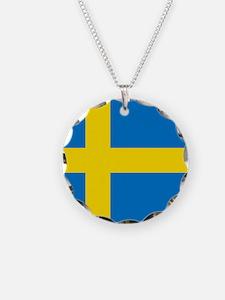 Square Swedish Flag Necklace