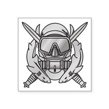 "Unique Navy frogman Square Sticker 3"" x 3"""