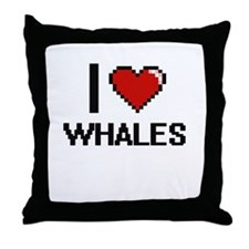 I love Whales digital design Throw Pillow