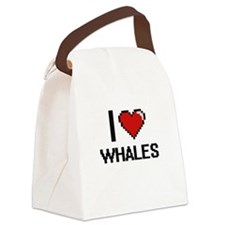 I love Whales digital design Canvas Lunch Bag