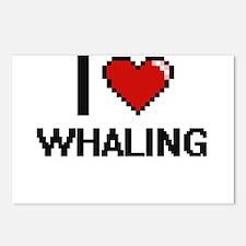 I love Whaling digital de Postcards (Package of 8)