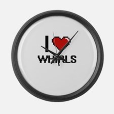 I love Whirls digital design Large Wall Clock