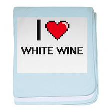 I love White Wine digital design baby blanket