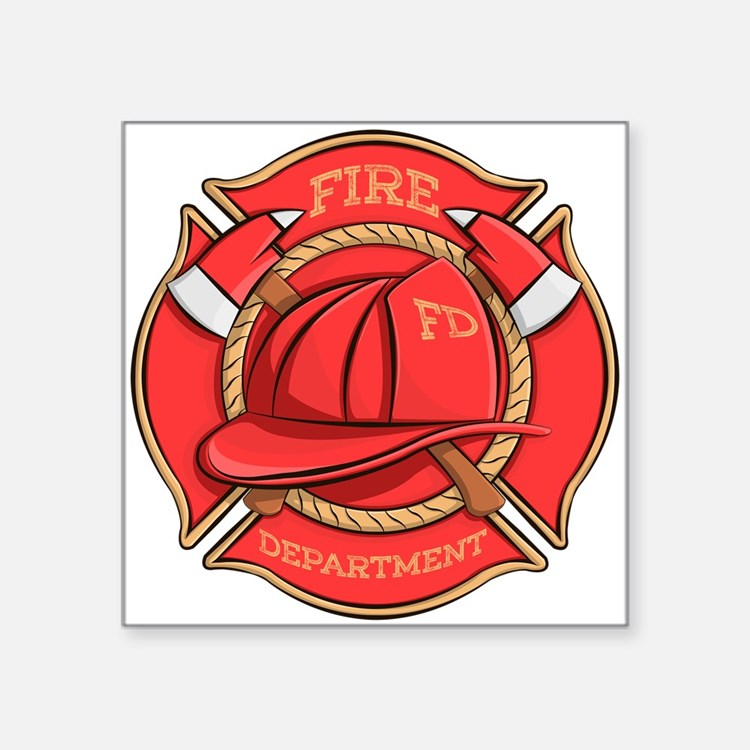 """Firefighter Badge Square Sticker 3"""" X 3"""""""