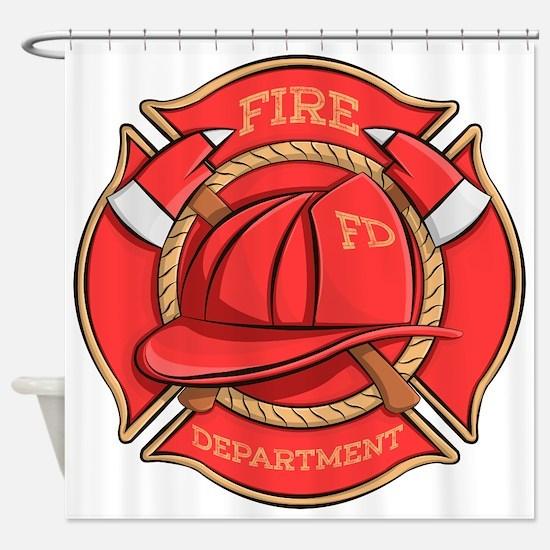 Firefighter Badge Shower Curtain