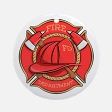 Firefighter Badge Round Ornament