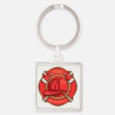 Firefighter Badge Square Keychains