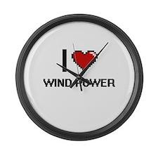I love Wind Power digital design Large Wall Clock