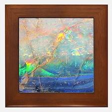 opal gemstone iridescent mineral bling Framed Tile