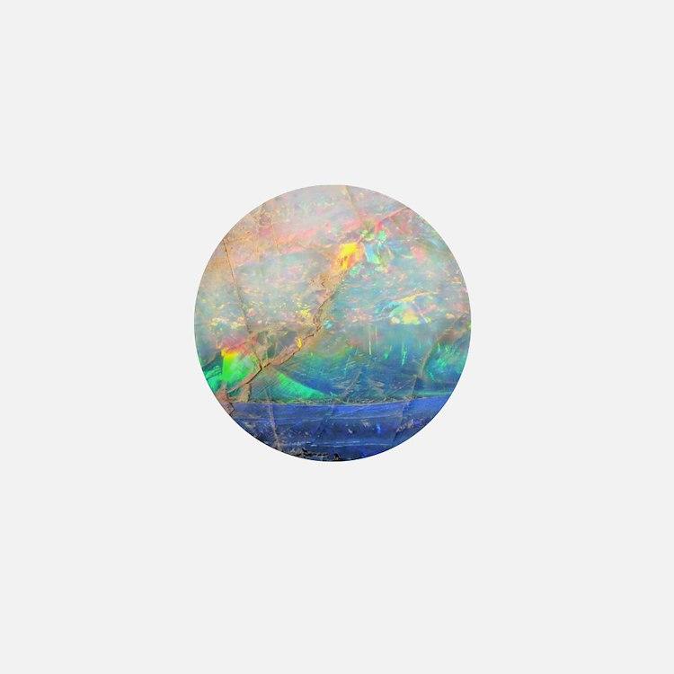opal gemstone iridescent mineral bling Mini Button