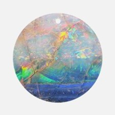 opal gemstone iridescent mineral bl Round Ornament