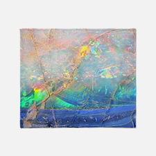 opal gemstone iridescent mineral bli Throw Blanket