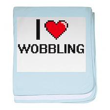 I love Wobbling digital design baby blanket