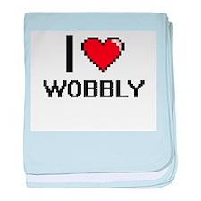 I love Wobbly digital design baby blanket