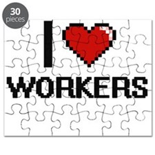 I love Workers digital design Puzzle
