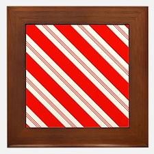 Candy Cane Stripes Holiday Pattern Framed Tile