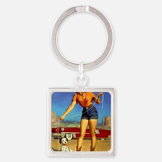 Pin Up: Cowgirl ! Square Keychain