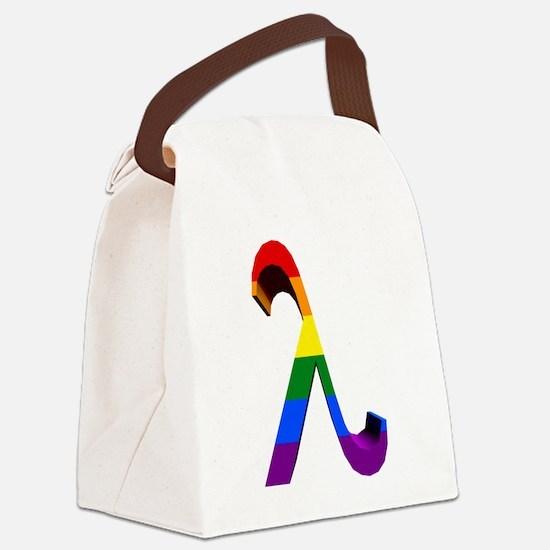 3D Rainbow Lambda Canvas Lunch Bag