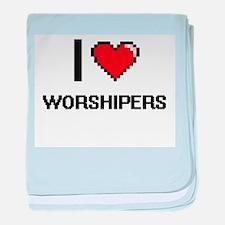 I love Worshipers digital design baby blanket