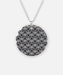 Black and White Flower and Flourish Damask Necklac
