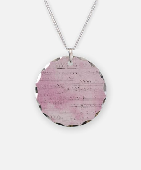 Pink and Black Distressed Musical Sheet Necklace