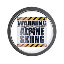 Warning: Alpine Skiing Wall Clock