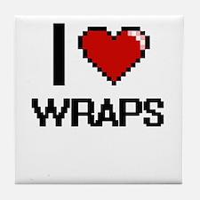 I love Wraps digital design Tile Coaster