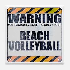 Warning: Beach Volleyball Tile Coaster