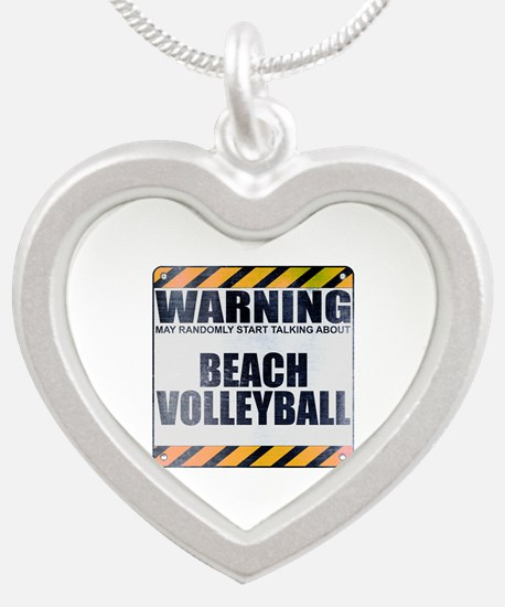 Warning: Beach Volleyball Silver Heart Necklace