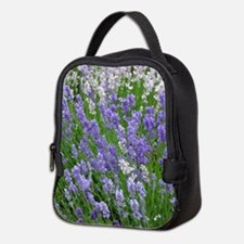Pink and purple lavender field Neoprene Lunch Bag