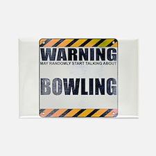 Warning: Bowling Rectangle Magnet (100 pack)