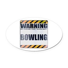 Warning: Bowling Oval Car Magnet