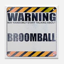 Warning: Broomball Tile Coaster