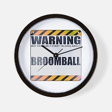Warning: Broomball Wall Clock