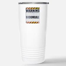 Warning: Broomball Ceramic Travel Mug