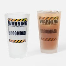 Warning: Broomball Drinking Glass