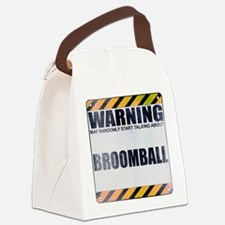 Warning: Broomball Canvas Lunch Bag