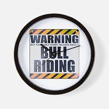 Warning: Bull Riding Wall Clock