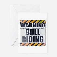 Warning: Bull Riding Greeting Card