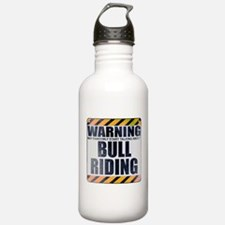Warning: Bull Riding Water Bottle