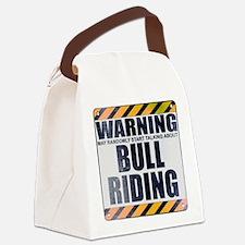Warning: Bull Riding Canvas Lunch Bag